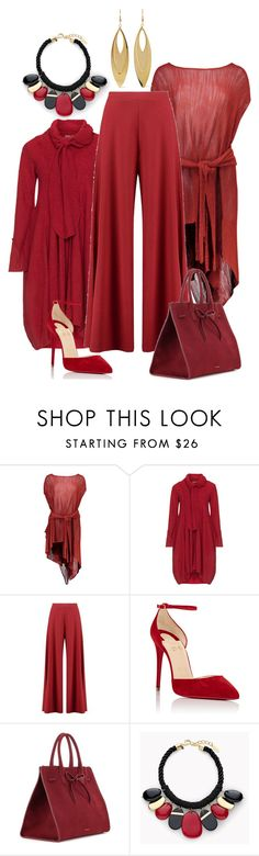 """""""red"""" by kim-coffey-harlow ❤ liked on Polyvore featuring Boohoo, Christian Louboutin, Mansur Gavriel, Chico's and Kenneth Jay Lane"""