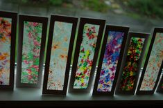 """stained glass"" bookmarks (really crayons and wax paper) - pretty DIY bookmarks! last minute gift that kids can make quick"