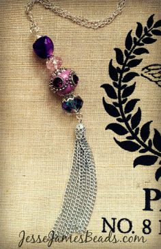 Easy tassel necklace with Jesse James Beads and a vintage tassel