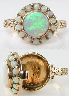 Victorian-inspired 9 karat gold opal poison ring from Diamonds in the Library: Jewels for Sandy.