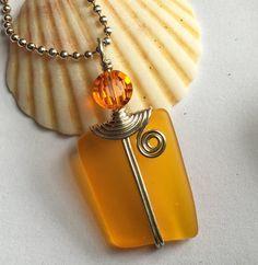 SALE Brooklyngems Jewelry Orange Stained Glass Pendant One of