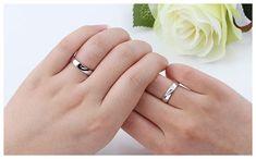 Black + White Couple Heart Wedding Rings
