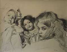 """Teresa Oaxaca """"Three Faces"""" 19x26"""", charcoal with white chalk on Hahnemuhle"""
