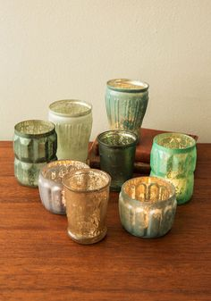 Peaceful and Quiet Votive Candle Holder Set. Your home becomes your sanctuary when softly lit by the glow from these eight, mix-and-match tealight holders. #multi #modcloth