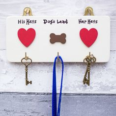 House Keys and Dog Lead Hooks/Dog's Lead Hook/Personalised/House-warming gidt/Wedding/New Home/Retirement/Celebrations/dog lover gift by SiopGardd on Etsy Dog Home Decor, Pet Decor, Hearts And Bones, House Keys, Wedding In The Woods, Retirement Gifts, New Home Gifts, Dog Lover Gifts, Crafts To Sell
