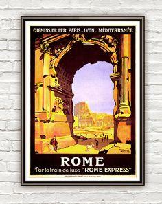 Vintage Poster of Rome Italy Italia  1921 Tourism poster travel. 22x13. $22.00