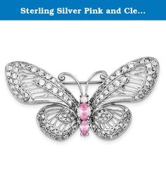 Sterling Silver Pink and Clear CZ Butterfly Pin. Product Type:Jewelry Jewelry Type:Accessories Accessory Type:Pins Material: Primary:Sterling Silver Material: Primary - Color:White Material: Primary - Purity:925 Length of Item:36 mm Width of Item:64 mm Finish:Polished Plating:Rhodium Stone Type_1:Cubic Zirconia (CZ) Stone Creation Method_1:Synthetic Stone Treatment_1:Synthetic Stone Color_1:Pink Stone Type_2:Cubic Zirconia (CZ) Stone Creation Method_2:Synthetic Stone Treatment_2:Synthetic...