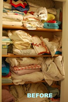 Before: Linens All Over the Placecountryliving Organization Hacks, Beautiful Homes, Nice Houses