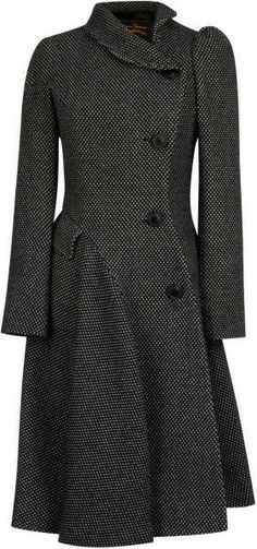 5910ad1d43 Women's Blue Navy Noble Double Breasted Wool Coat - Vivienne Westwood  Anglomania Storm Coat in Black/Grey