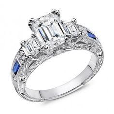 1.90 Carat Emerald & Sapphire Engagement Ring