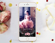 QUINCEANERA Snapchat Geofilter, Pink Flowers Filter, Floral Quinceanera Snap chat Filter, 15th 16th Birthday Geofilter 16th Birthday, Pink Flowers, Snapchat, Filter, Iphone, Floral, Quinceanera Ideas, Ivory, Florals