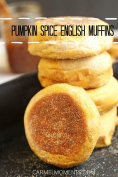 Pumpkin Spice English Muffins - Delicious English muffins with pumpkin baked right in and with perfect blend of spices by carmelmoments  #Muffins #Pumpkin #Spices