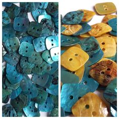 50pcs Shell Buttons  Choice of Blue or by ScatterBoxBoutique
