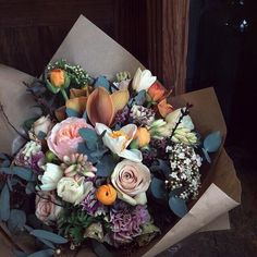 Peach and mauve bouquet