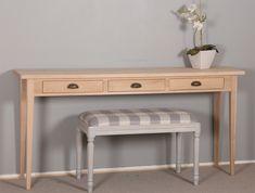 Sivupöytä 160x35 cm ja taburetti 80x40 cm. Valmistamme pöytiä ja taburetteja erikokoisina. juvikauppa.fi Decor, Furniture, Table, Entryway Tables, Home Decor, Entryway