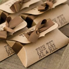 """""""Thank you from the Mr. & Mrs."""" printed on these Kraft Pillow Favor Boxes."""