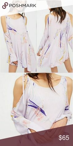 Free People dress Free People Clear Skies Lilac Printed Tunic Dress Free People Dresses Long Sleeve