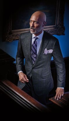 Dark Grey Plaid Wool Suit With Purple Windowpane