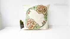 Hand embroidered cushion cover red rose pillow16 inch pillow