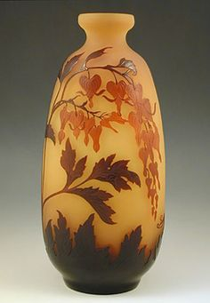 Galle Art Nouveau Cameo Glass Vase with Bleeding Hearts