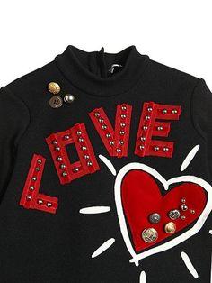 DOLCE & GABBANA - 사랑 & 심장 패치 울 스웨터 드레스 - 드레스 - 블랙 - LUISAARARARA