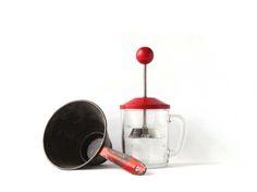 Vintage Kitchen Decor Red Glass Nut Chopper Sieve by AveryandAllen