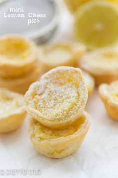 These Mini Lemon Chess Pies are the perfect bite! Sweet, tart, and perfectly lemony, they're a mini version of the popular pie.
