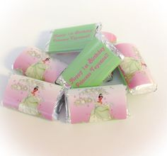 100 Tiana Princess and the Frog Personalized Hershey's Mini Candy Bar Wrappers Party Favors