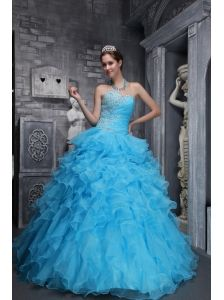 Beautiful Aqua Blue Quinceanera Dress Sweetheart Taffeta and Organza Beading and Appliques Ball Gown