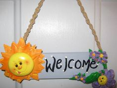 Sun and Flower Welcome sign polymer clay