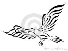 Tatouage de symbole de liberté. Aigle de vol avec de grandes ailes