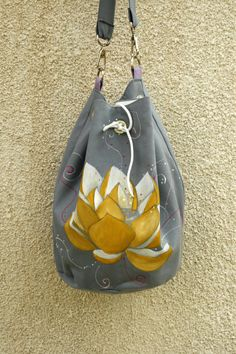 Vegan Hand made Gray Cotton Lotus Shoulder Bag by AtelierGOBI on Etsy Unique Bags, Lotus, Shoulder Bag, Vegan, Gray, Trending Outfits, Unique Jewelry, Handmade Gifts, Cotton