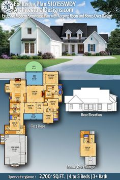 ADHousePlans Exclusive Modern Farmhouse House Plan 510155WDY gives you 2,700  square feet of living space with 4 or 5 bedrooms and 3  Full baths. AD House Plan #510155WDY #adhouseplans #architecturaldesigns #houseplans #homeplans #floorplans #homeplan #floorplan #houseplan #4bedrooms #4bedroomhouseplans #4bedroomhouse #houseplan #floorplan #modernfarmhouseplans #modernfarmhouse #southernfarmhouse #countryfarmhouse