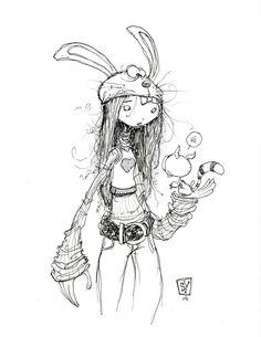 #DailySketch Rabbit Head Girl. original art available in my store