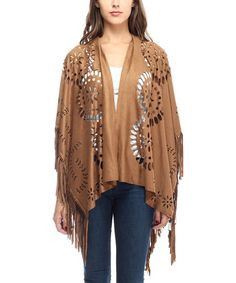 Look at this #zulilyfind! Brown Perforated Fringe-Trim Long Shawl by Justin Taylor #zulilyfinds