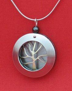 J. R. Franco Canadian Aluminum Contemporary Jewellery  Aluminum Necklace Silver Gold (RH190SGO) $59.95