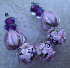 BLISS Amethyst Delight Wild Blossom Abundance and Tulip Lampwork Mix   blissfulgardenbeads - Jewelry on ArtFire