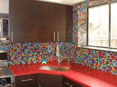 Awesome!  I would make the countertop plain so the tiles can be in the spotlight!