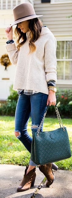 AG 'The Legging' Ankle Jeans | Free People Sidewinder Pullover Sweater | Rails Hunter Long Sleeve Shirt | Tory Burch Quilted Chain-Shoulder Slouchy Tote