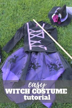Make a homemade witch costume with this easy to follow step by step tutorial.  Whether you sew a lot or just a little, this is a great beginner sewing project.