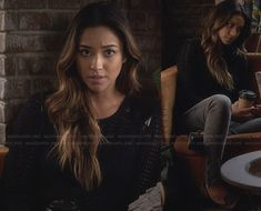 Emily's black knit sweater with leather shoulders and studded loafers on Pretty Little Liars.  Outfit Details: http://wornontv.net/27043/ #PrettyLittleLiars