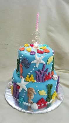 2-tier fondant finished sea themed birthday cake for a 3-year old's special day.