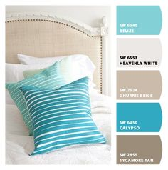 Paint colors by Sherwin-Williams / SW Belize / SW Heavenly White / SW Dhurrie Beige / SW Calypso / SW Sycamore Tan