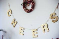 "glitter ""Cheers"" garland #projectfab @marshalls"