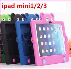 Cartoon Silicone 3D Teddy Bear Animal Covers Kids Shockproof Stand Case for ipad mini 3 2 1