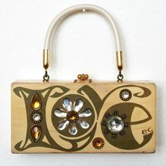 1960s - 'Love' wooden purse by designer Enid Collins (They were a big deal.)