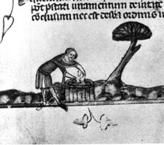 Difficult to tell exactly, but I think he is throwing pottery on a wheel. Circa 1265 Whitsuntide camp