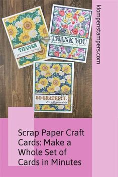 You have a ton of scrapbook paper or designer series paper laying around. I've got an easy paper craft idea that will make use of that paper— make greeting cards! These cards would be perfect to make as a set and give away as a gift or sell them at craft fairs. Check out all the details at www.klompenstampers.com Handmade Greetings, Greeting Cards Handmade, Easy Paper Crafts, Card Sketches, Craft Fairs, Scrapbook Paper, Card Making, Thankful, How To Make