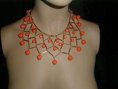 Vtg Coral Molded Plastic Dangle Art Deco Demi Parure Honeycomb Bib Runway Choker Earring Set #Unsigned
