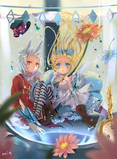 ✮ ANIME ART ✮ Alice in Wonderland. . .Alice. . .White Rabbit. . .anime boy. . .rabbit ears. . .dress. . .apron.. . .head bow. . .in water. . .bubbles. . .cute. . .kawaii